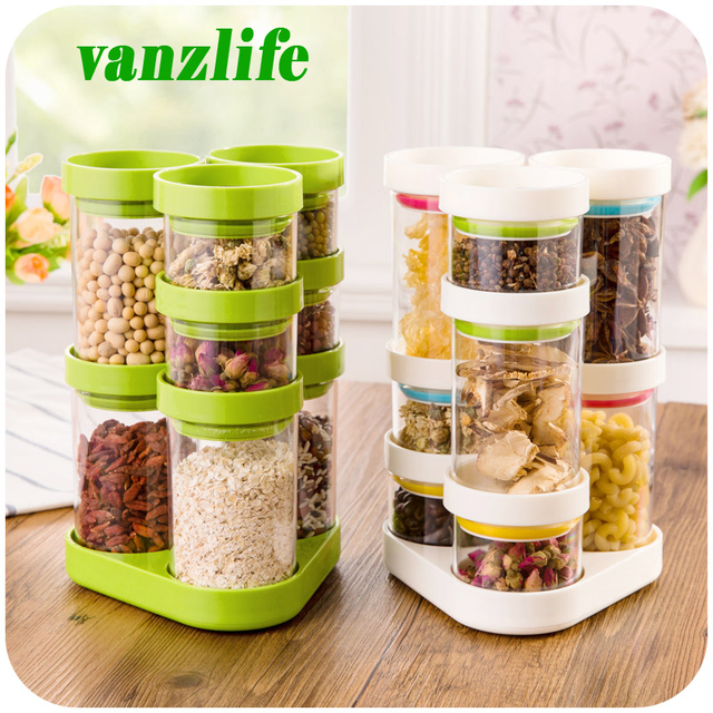 8Pcs A Lot Vanzlife Kitchen Storage Container Rotating Plastic