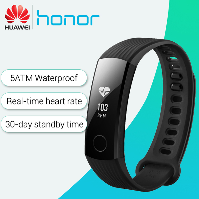 Huawei Honor Band 3 Smart Polsband Real-time Hartslag Monitoring 5ATM Waterdichte Zwemmen Fitness Tracker voor Android iOS