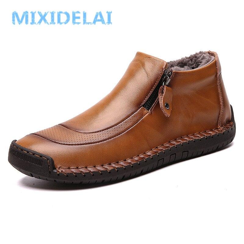 MIXIDELAI New Fashion Men Boots High Quality Split Leather Ankle Snow Boots Shoes Warm Fur Plush Winter Shoes Plus Size 38-48