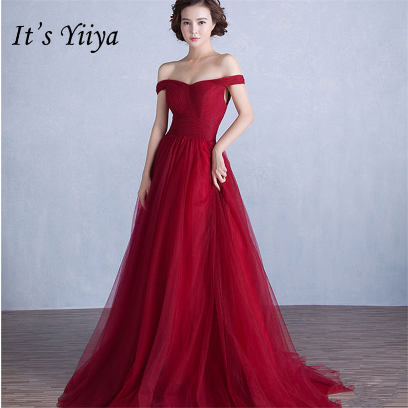 It's YiiYa Sexy Boat Neck   Prom     Dresses   Vintage Wine Red A-line Lace Up Party Gowns Vestidos HX069