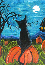 Black Cat Sitting On a Pumpkin Looking at the Moon Diamond Painting Full Square  Embroidery Mosaic Crystals
