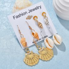 Fashion Summer Bohemia Metal Shell Starfish Conch Drop Earrings Pearl Dangle Earrings Statement Brincos For Women Jewelry Gifts(China)