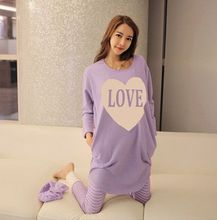 Fashion design summer style thin Purple big size T-shirt pregnant clothes cotton Pajama Sets maternity nightgown leisure wear