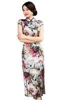 Trasporto libero cinese vestito cheongsam abito lungo tradizionale Stile Cinese abito orientale stampa Floreale Abito lungo 220