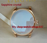Sapphire Crystal Parnis 44MM 316 Stainless Steel Watch Case Pumpkin Shaped Crown PVD Rose Gold Watchcase