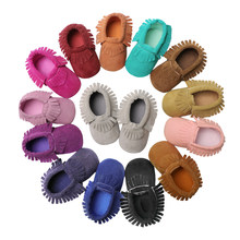 Baby Moccasins PU Suede Leather Newborn Brand Baby Shoes Moccasins Bebes Suede Leather Baby Fringe Moccasins Non-slip Footwear(China)