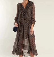 Для женщин темно серое шелковое платье в горошек с принтом в виде сердца и рюшами