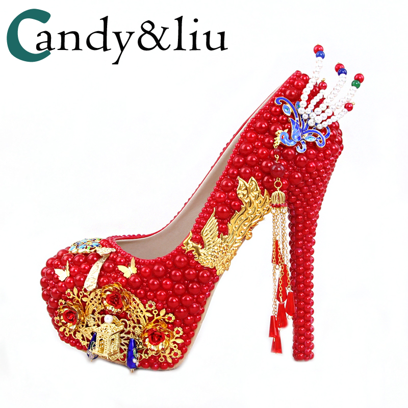 Red Pearl Round Golden Phoenix Palace Wedding Shoes High-heeled Evening Dress Shoes butterfly Tassel Bride Shoes For Party