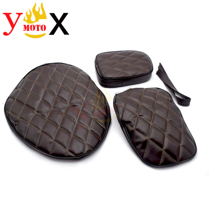 Dark Brown PU Leather Motorcycle Drive Seat Cover Rear Passenger Pad Cushion Cover Modified Replacement For Yamaha XV250(China)