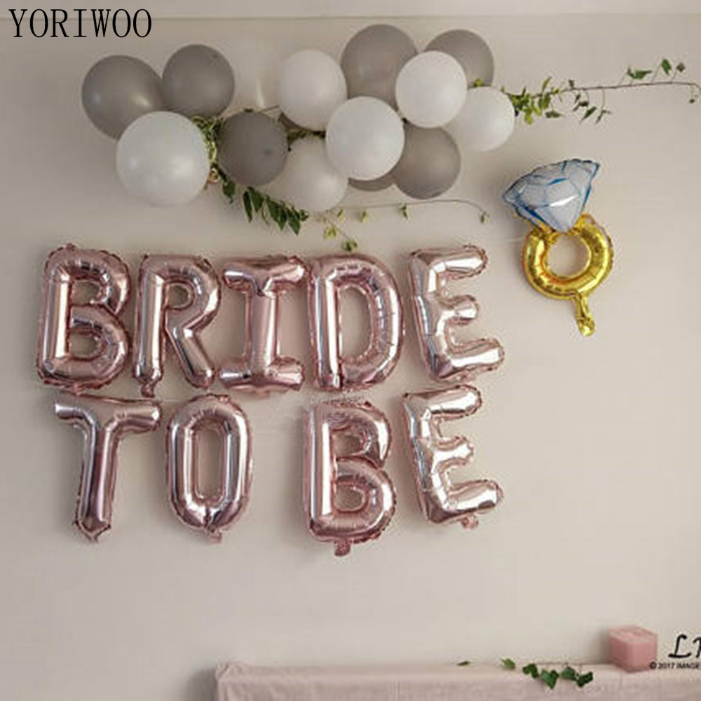 YORIWOO 16inch Rose Gold Bride To Be Letter Balloons Foil Wedding Bridal Shower Bachelorette Party Decor Girls Hen Party Favors
