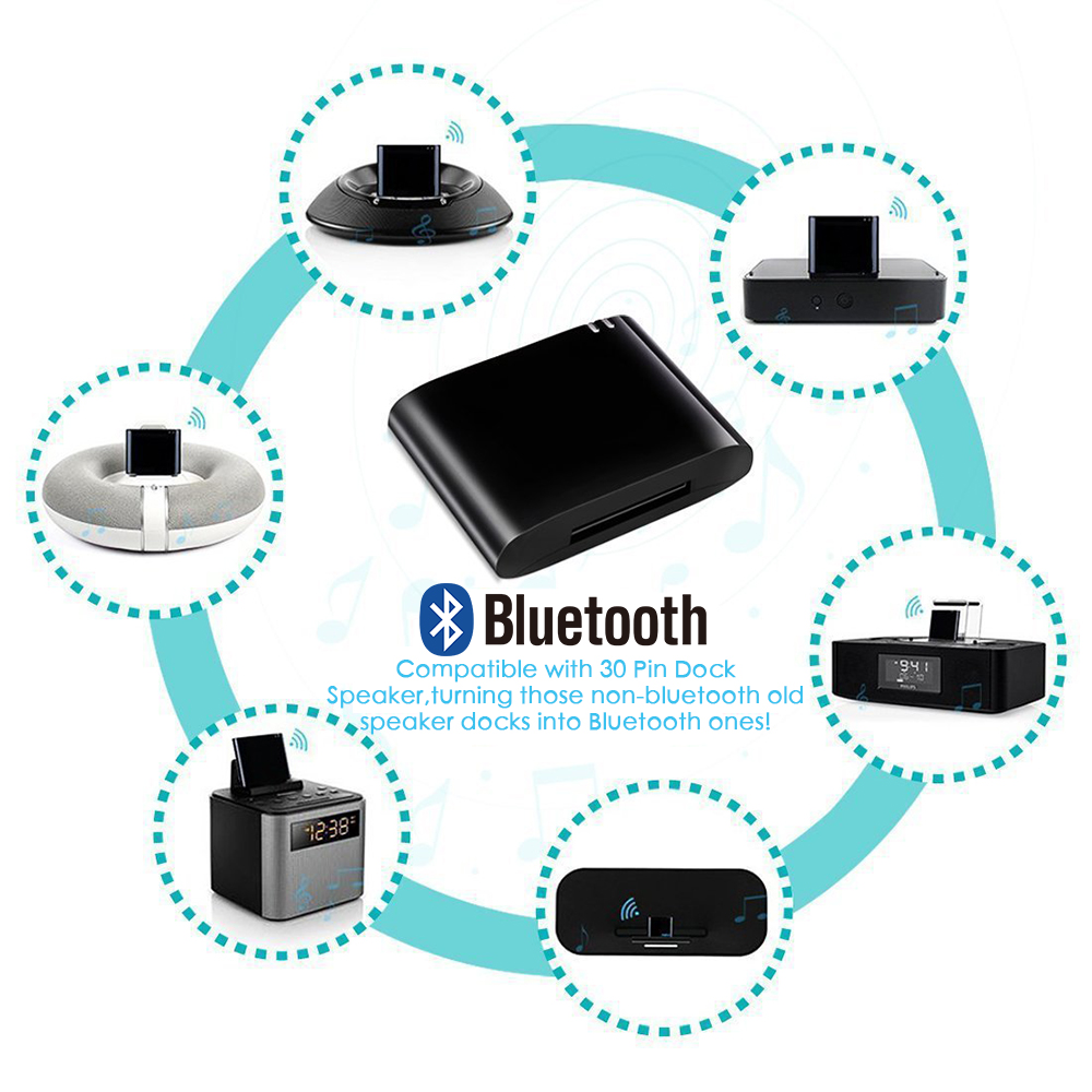 Bluetooth 4.1 A2DP Audio Music Receiver Adapter Bose Sounddock 30Pin iPhone iPod