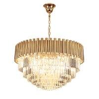 Lustre de cristal luxo moderno design redondo lâmpada para sala estar jantar luminárias cristal