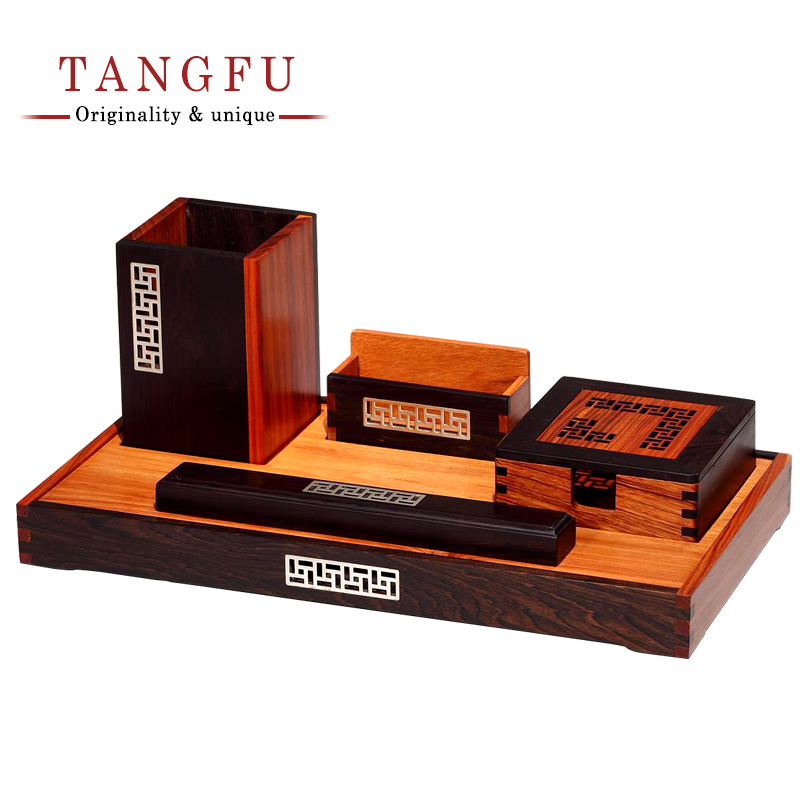 Business Office Suite of Rosewood carving Pen Holder Tray type File ...
