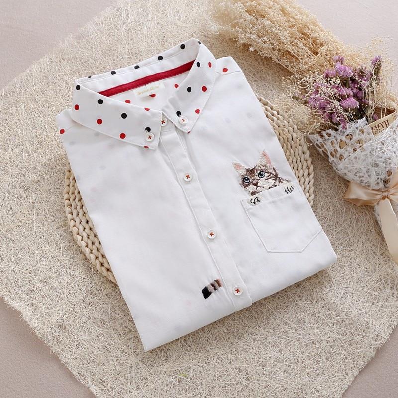 2016 women denim shirts polka dot Fashion white  pot pocket cat embroidery Women Shirts ladies Slim Blouses Jeans