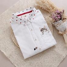2016 женщин джинсовые рубашки в горошек Мода белый горшок карман кошка вышивка пот Женщин Рубашки дамы Тонкий Джинсы, Блузки, рубашки