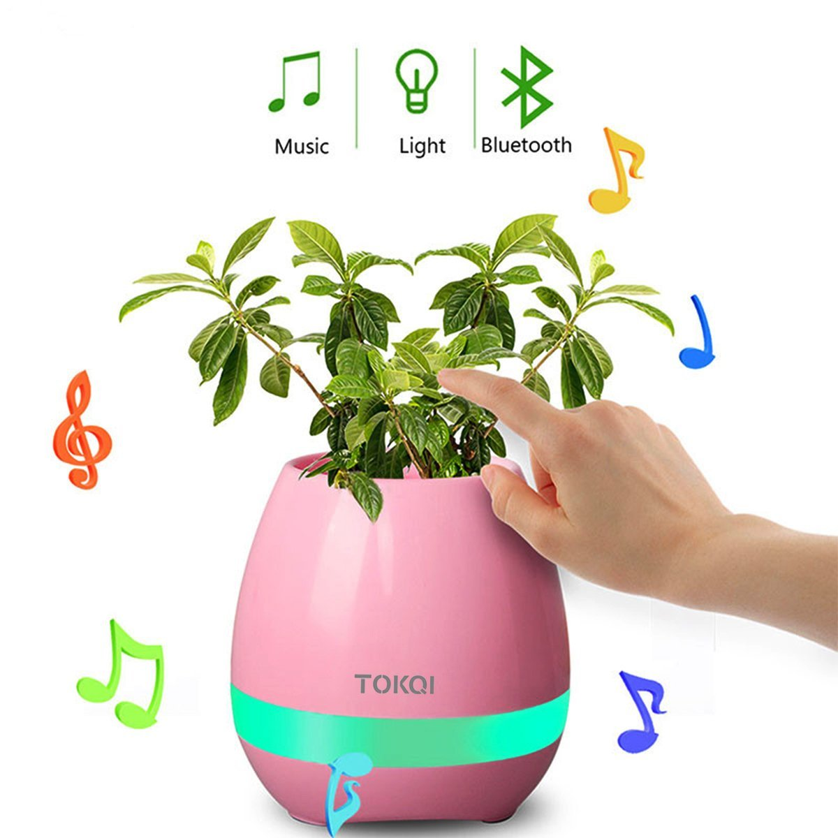 New Smart Finger Touch Wireless Bluetooth Speakers Multi-color LED Night Light MP3 Music Flowerpot Home Office Desk Decorative