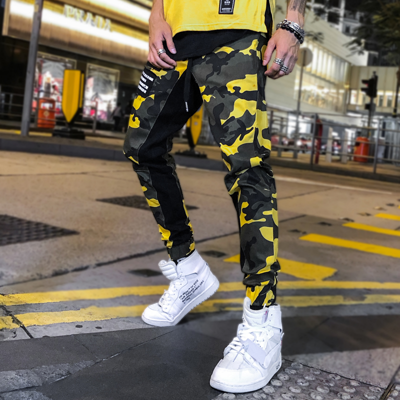 Camouflage Pants Men Hip Hop Pants Camo Loose Harem Pants Joggers Sweatpants Casual Fashion Youth Streetwear Yellow Red Autumn number