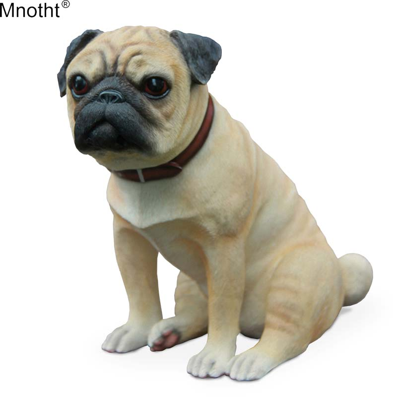 Mnotht Large Pug Dog Model 1/6 British Brand Simulation Animal Dog Scene Mini Accessory for Action Figure Collection Gift m3n balloon dog 4dmaster animal model action toy figures by jason freeny naked dog art can see through the body dog for collection