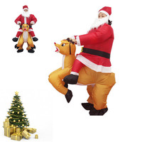 Inflatable Santa Claus Performance Suit Christmas Party Funny Santa Ride a Deer Jumpsuit Xmas Adult Costume New Year Spoof Props