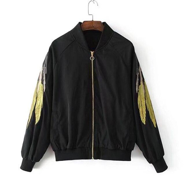 Women Basic Jackets 2017 Fashion Gold Wings Embroidery Black ...