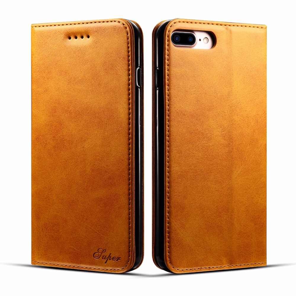 Véritable cuir de vache veau véritable côté ouvert portefeuille sacs Case 3 fente pour carte, Flip couverture de Style d'affaires pour iphone 6s pour iphone6 plus