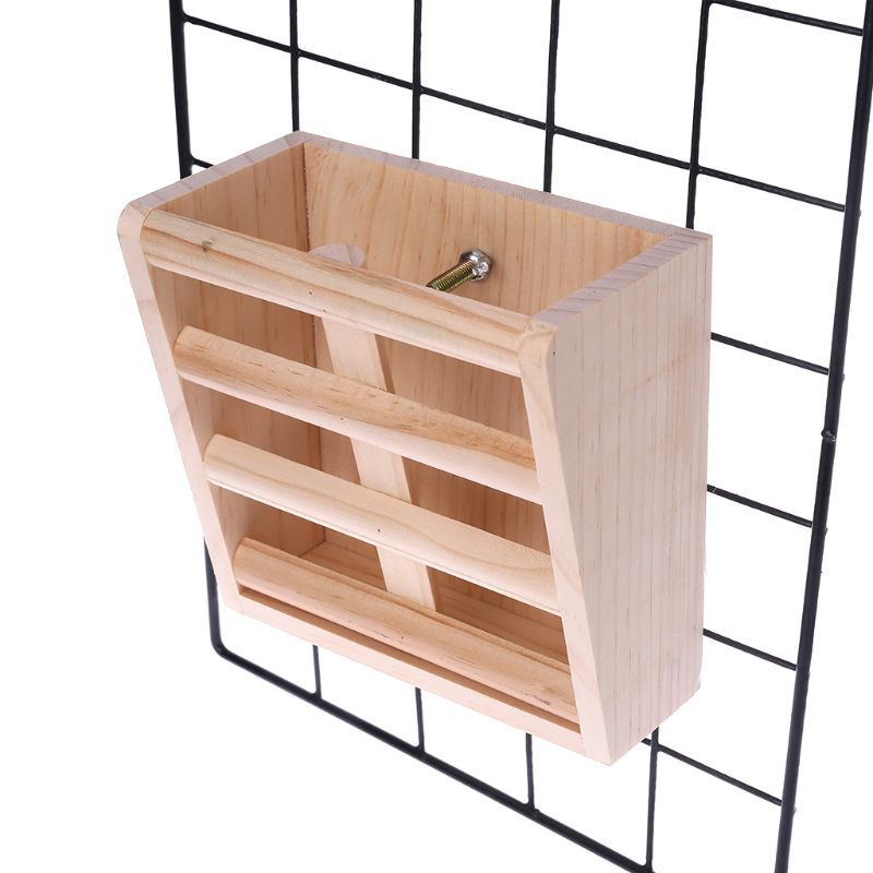 Home Rabbit Wooden Feeder Frame Small Pet Guinea Pig Bowl Cage Food Container