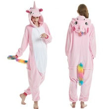 New onesies Adults Animal Unicorn Pajamas Panda Cartoon Kigurumi Women Winter Unisex Flannel Stitch unicornio Sleepwear