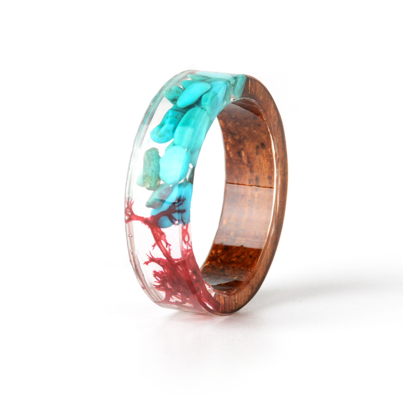 HTB1SBkZc56guuRkSmLyq6AulFXa9 - Hot Sale Handmade Wood Resin Ring Dried Flowers Plants Inside Jewelry Resin Ring Transparent Anniversary Ring for Women