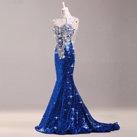 Luxury Bright Drill Royal Blue Evening Gown Tailing Long Chinese Dress Women Cheongsam Qipao Oriental Party Dresses Banquet