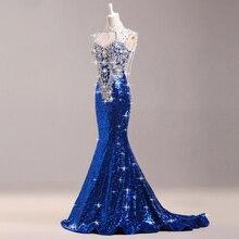 Cola de lujo Taladro Brillante Azul Real Vestido de Noche Largo Cheongsam Qipao Chino Vestido de Las Mujeres Vestidos de Fiesta Banquete Oriental
