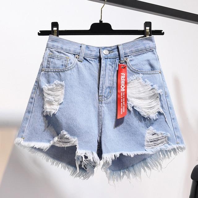 TIGENA High Waist Denim Shorts Women 2021 Summer Pocket Tassel Hole Ripped jeans Short Female Femme Short Pants Women 5