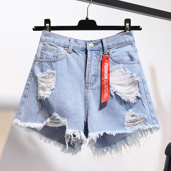 High Waist Denim Shorts Women Summer Plus Size Pocket Tassel Hole Ripped jeans Short Female Femme Short Pants Women Women's Bottoms