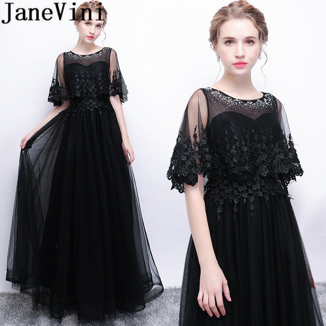 08ee1c010f7cd US $119.6 49% OFF|JaneVini Vestidos Black Mother Of The Bride Dresses 2018  A Line Beaded Appliques Tulle Floor Length Women Formal Evening Gowns-in ...