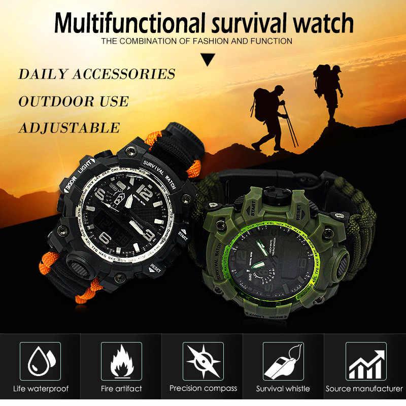on sale f5132 05e1b 新しい屋外機能サバイバル腕時計 EDC キャンプハイキング救助 Paracord ブレスレット機器ツールキット夜光時計コンパス