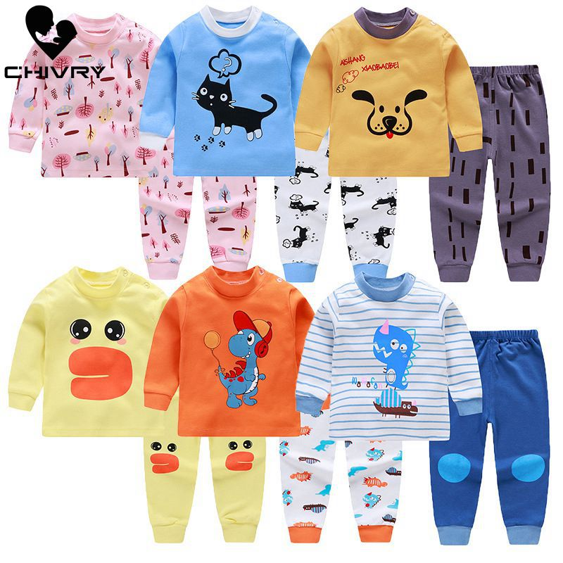 Kids Boys Pajama Sets Cartoon Print Long Sleeve O-Neck Cute T-Shirt Tops With Pants Baby Girls Child Autumn Sleeping Clothes