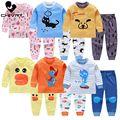 Crianças meninos conjuntos de pijama impressão dos desenhos animados manga longa o-pescoço bonito t-shirts com calças do bebê meninas criança outono roupa de dormir