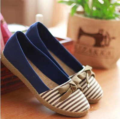 New Arrival Spring Women's Flats Bowtie Women's Canvas Shoes Stripe Slip on Casual Canvas Shoes Women Zapatos Mujer 5C13