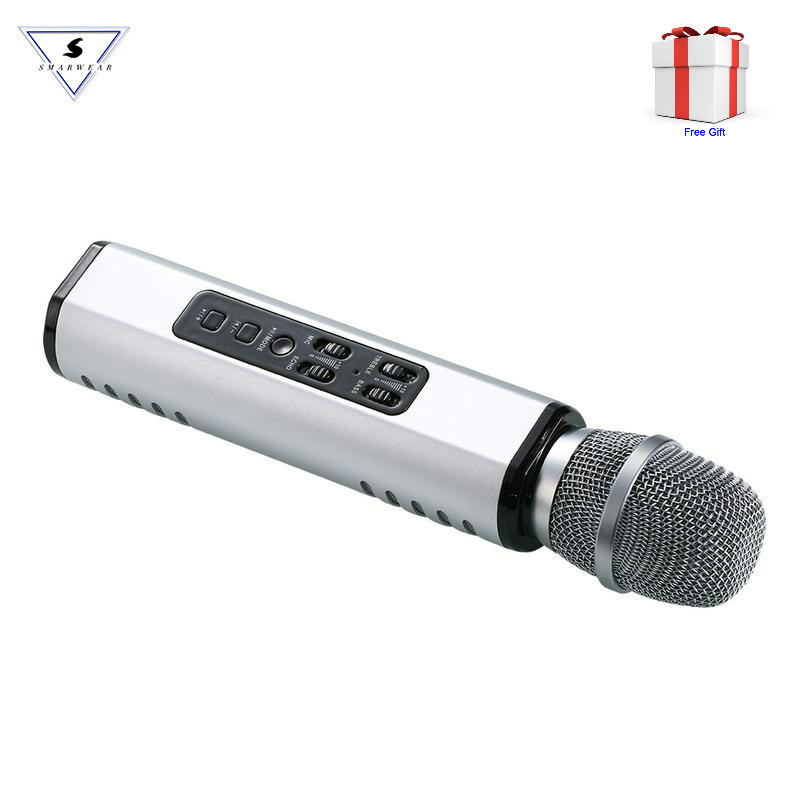 Multi Functional Bluetooth Karaoke Microphone With Double Speakers Wireless Portable Intelligent Mic For Mobile Phone Karaoke