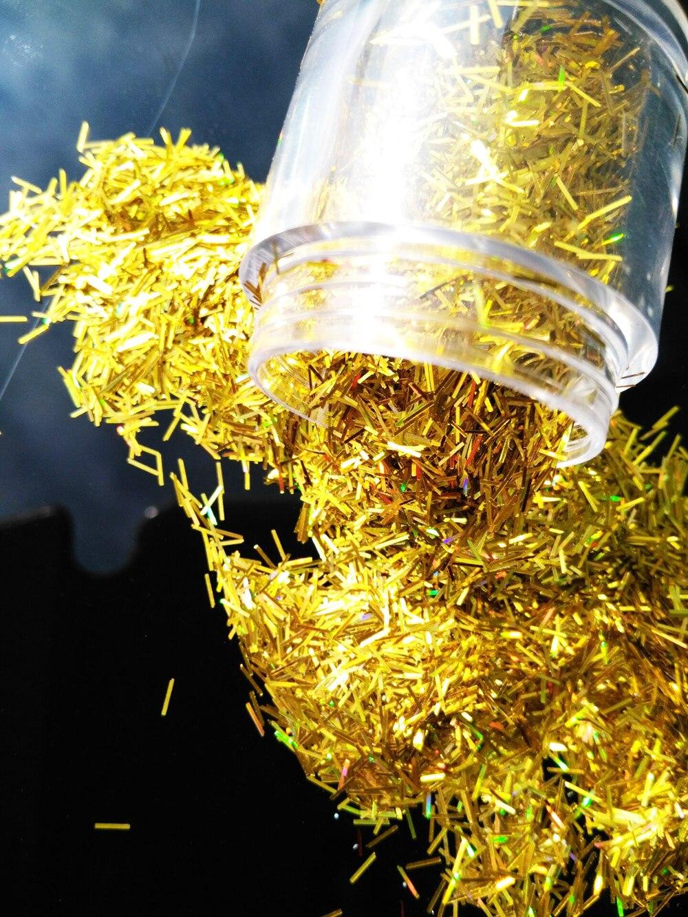 Hu42 Gold Holographic Glitter Bars/nail Art Craft Streifen Kurze Bar Form Farbe 0,2*3 Mm Größe Glitter Für Nagel #10g Glas Tropf-Trocken lb101