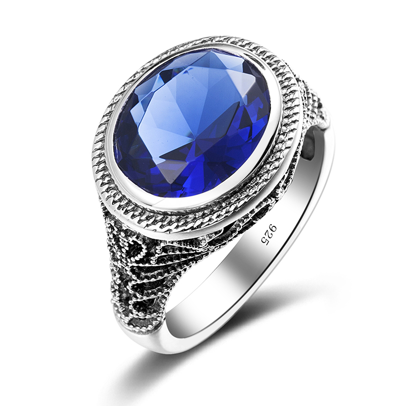 large size retro blue wedding rings hollow out for women men 925 silver austrian crystal ring - Large Wedding Rings