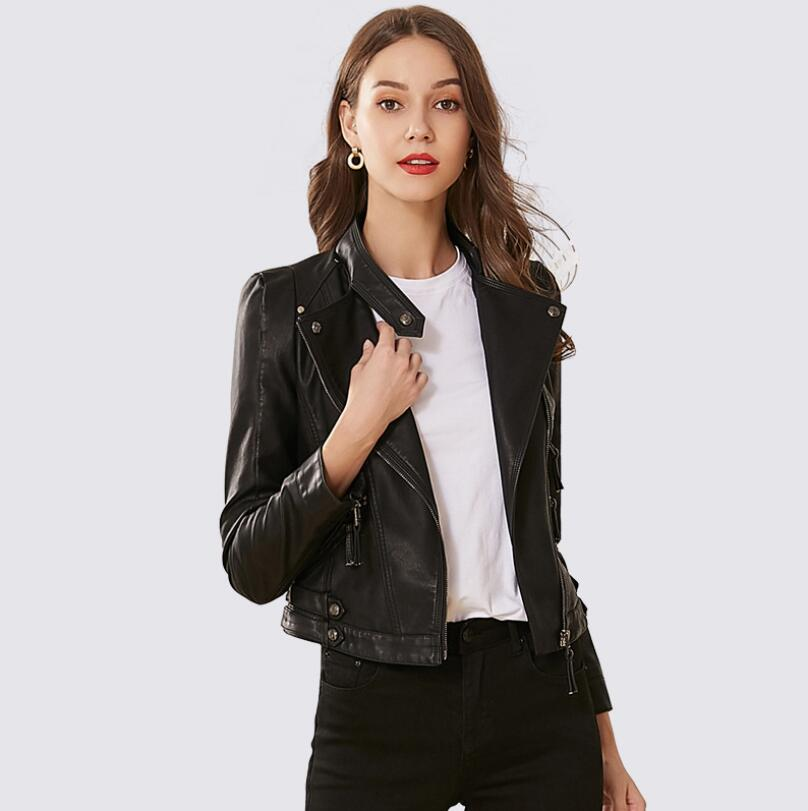 2019 spring autumn   Leather   short PU Faux   Leather   jacket coat women fashion slim Stand collar zipper   leather   Outerwear w759