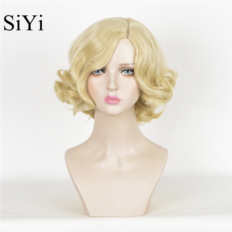 Anime Cosplay Cinderella Synthetic Wigs Short Blonde Wavy Wig Queen Weave Beauty Fashion Party For Women