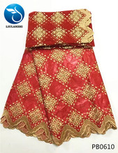 Hot selling African bazin lace High quality riche getzner mix red yellow brocade fabric for party NB13