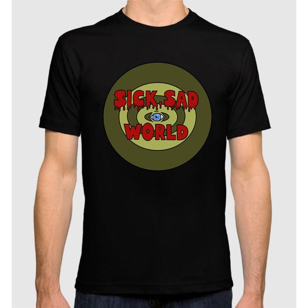 Дарья футболка больной грустный мир Для Мужчинs Для женщин хлопковая футболка