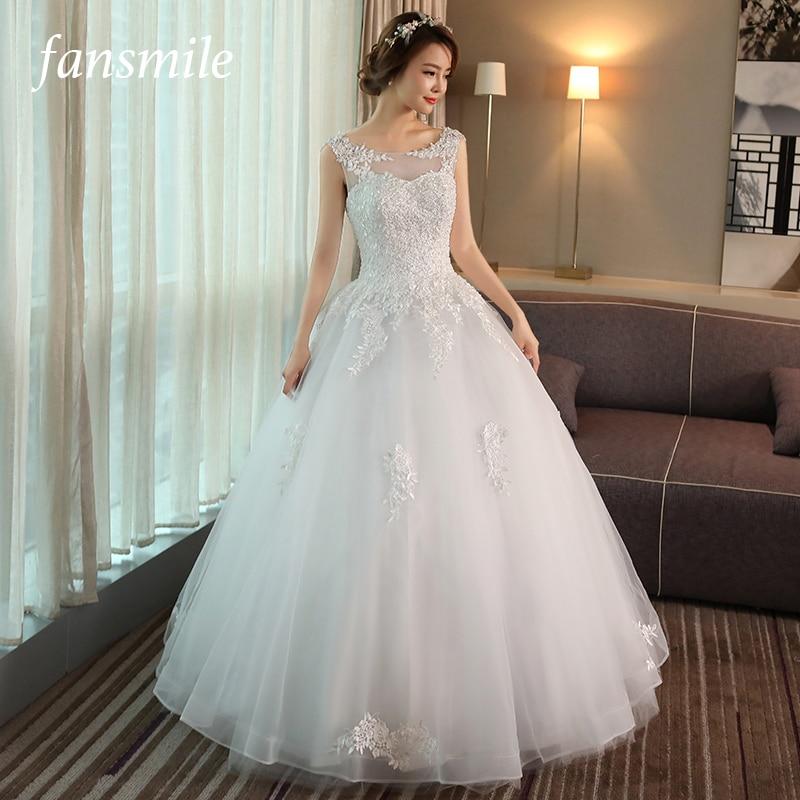 Fansmile 2019 Korean Lace Up Ball Gown Quality Wedding Dresses Vestido de Noiva Customized Plus Size
