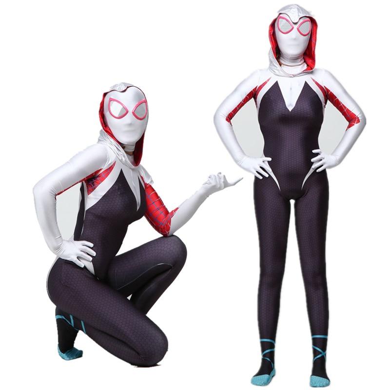 2019 NEW Spider Gwen Stacy Spandex Lycra Zentai Spiderman Costume for Halloween Cosplay Female Spider Suit Anti-Venom Gwen woman
