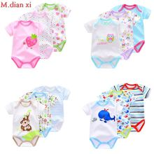 3 kinds of clothes / animal style short sleeved cotton baby romper Jumpsuit cotton baby newborn lot 2017 Summer Boys and girls(China)