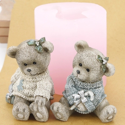 Przy 3d Силиконовая форма с милым медведем для пар, форма для шоколада, мусса, форма для торта, пресс форма для свечей, полимерные глиняные формы