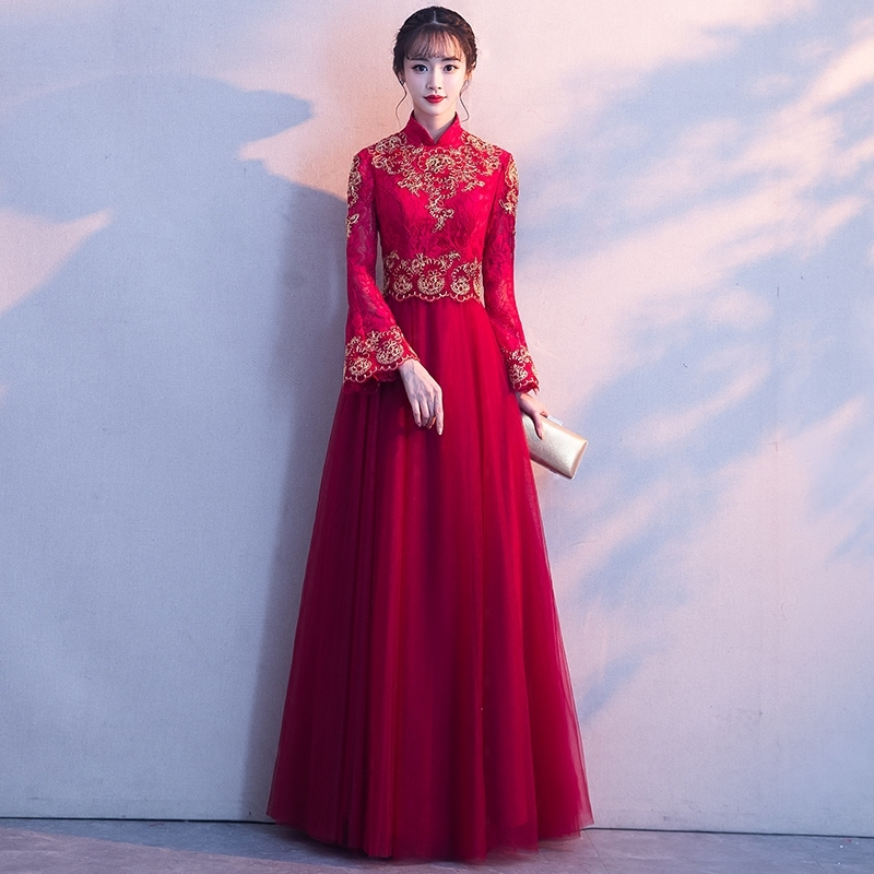 Red Chinese Traditional Wedding Dress Qipao Long Robe Mariee Evening Dresses Plus Size Embroidery Cheongsam Vestidos Chines