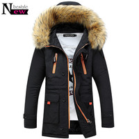 Newbestyle Fashion Men Winter Cotton Coat Male Big Fur Hooded Jacket Homie Casual Jackets Warm Thicken Overcoat Long Parka Gift
